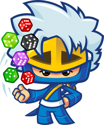 Mascot Pose - 6 Rolling dice Different color